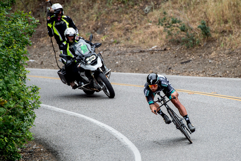 3 time world road champion Peter Sagan (Bora Hansgrohe) tests his skills at time trialing. Men's Stage Four, Individual Time Trial, Morgan Hill, 2018 Amgen Tour of California cycling race (Photo by Dave Richards, daverphoto.com)