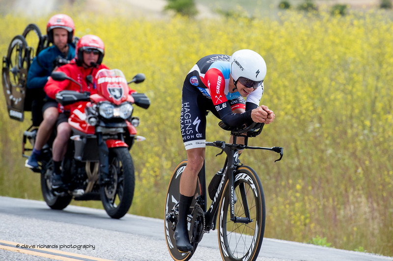 SRAM neutral support stays close in case a rider needs a quick wheel change after a puncture. Men's Stage Four, Individual Time Trial, Morgan Hill, 2018 Amgen Tour of California cycling race (Photo by Dave Richards, daverphoto.com)