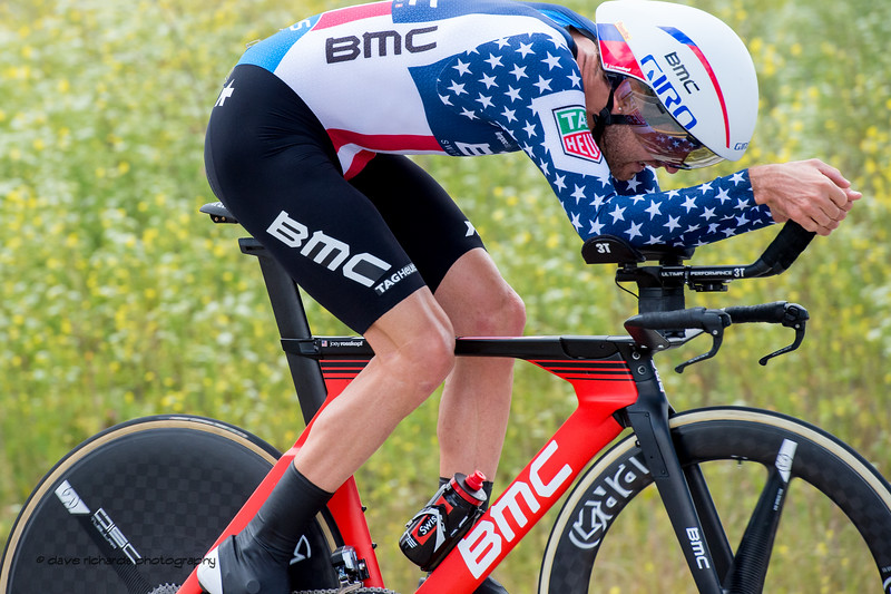 Joey Rosskopf (BMC Racing)  wearing the stars and stripes signifying that he's the current USA time trial champion. Men's Stage Four, Individual Time Trial, Morgan Hill, 2018 Amgen Tour of California cycling race (Photo by Dave Richards, daverphoto.com)