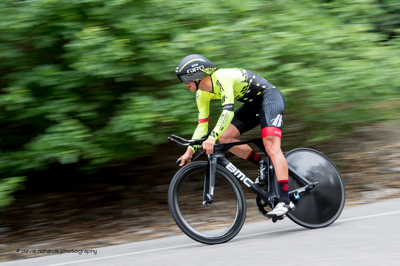 Green on green. Men's Stage Four, Individual Time Trial, Morgan Hill, 2018 Amgen Tour of California cycling race (Photo by Dave Richards, daverphoto.com)