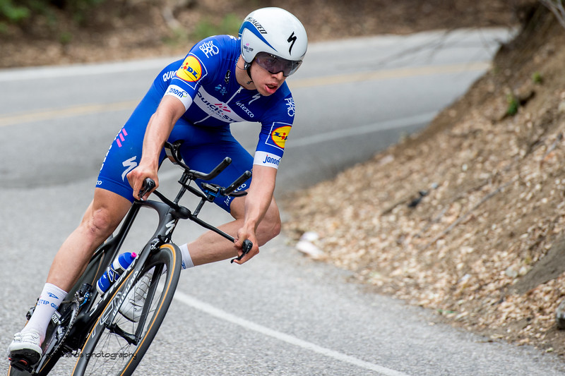 Quick_Step Floors riders on a fast descent during the Men's Stage Four, Individual Time Trial, Morgan Hill, 2018 Amgen Tour of California cycling race (Photo by Dave Richards, daverphoto.com)