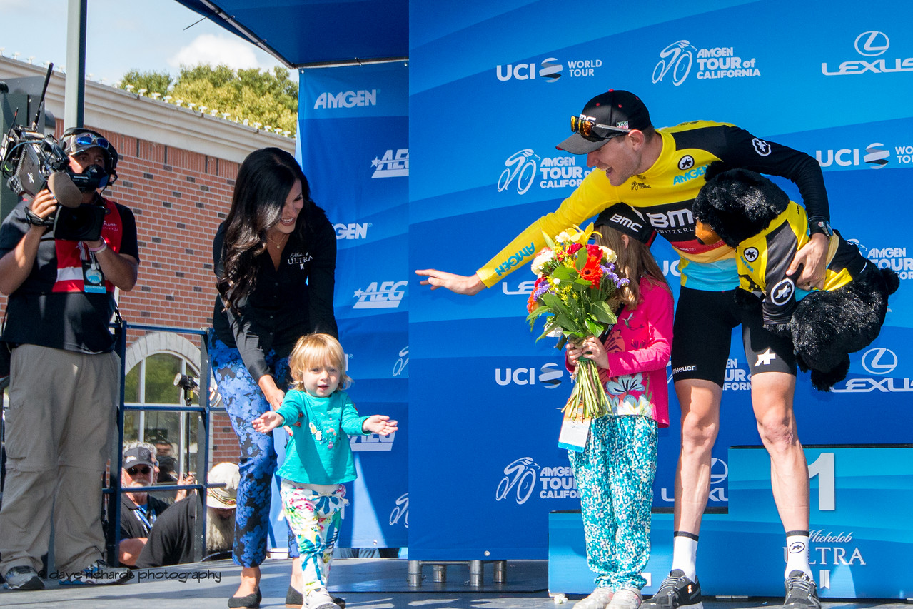Tejay Van Garderen's (BMC Racing) young daughter joins him on the stage reaching out to the fans for a much deserved welcome. Men's Stage Four, Individual Time Trial, Morgan Hill, 2018 Amgen Tour of California cycling race (Photo by Dave Richards, daverphoto.com)