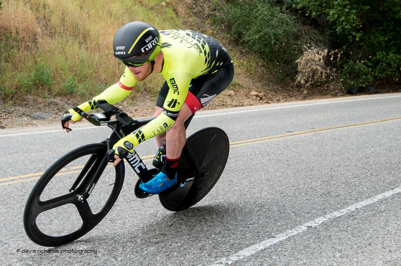 """John """"Murph"""" Murphy (Holowesko) drills a fast descent during Men's Stage Four, Individual Time Trial, Morgan Hill, 2018 Amgen Tour of California cycling race (Photo by Dave Richards, daverphoto.com)"""
