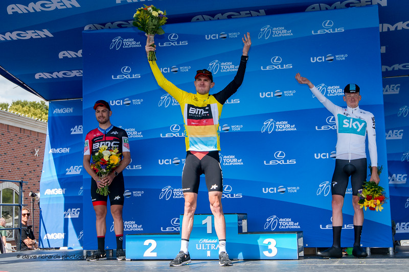Stage winners podium L-R: Patrick Bevin (BMC Racing), Tejay Van Garderen (BMC Racing) & Tao Geoghegan Hart (Team Sky). Men's Stage Four, Individual Time Trial, Morgan Hill, 2018 Amgen Tour of California cycling race (Photo by Dave Richards, daverphoto.com)