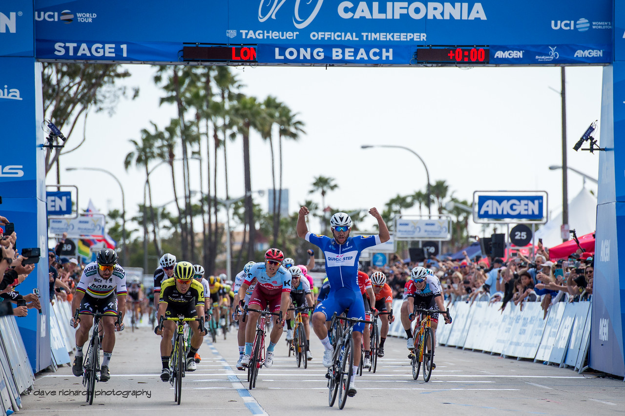 Fernando Gaviria (Quick-Step Floors) nails the sprint battle to take Men's Stage One in Long Beach, 2018 Amgen Tour of California cycling race (Photo by Dave Richards, daverphoto.com)