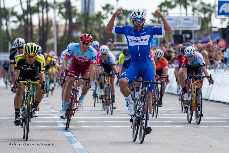 Fernando Gaviria (Quick-Step Floors)  celebrates his win on Men's Stage One in Long Beach, 2018 Amgen Tour of California cycling race (Photo by Dave Richards, daverphoto.com)