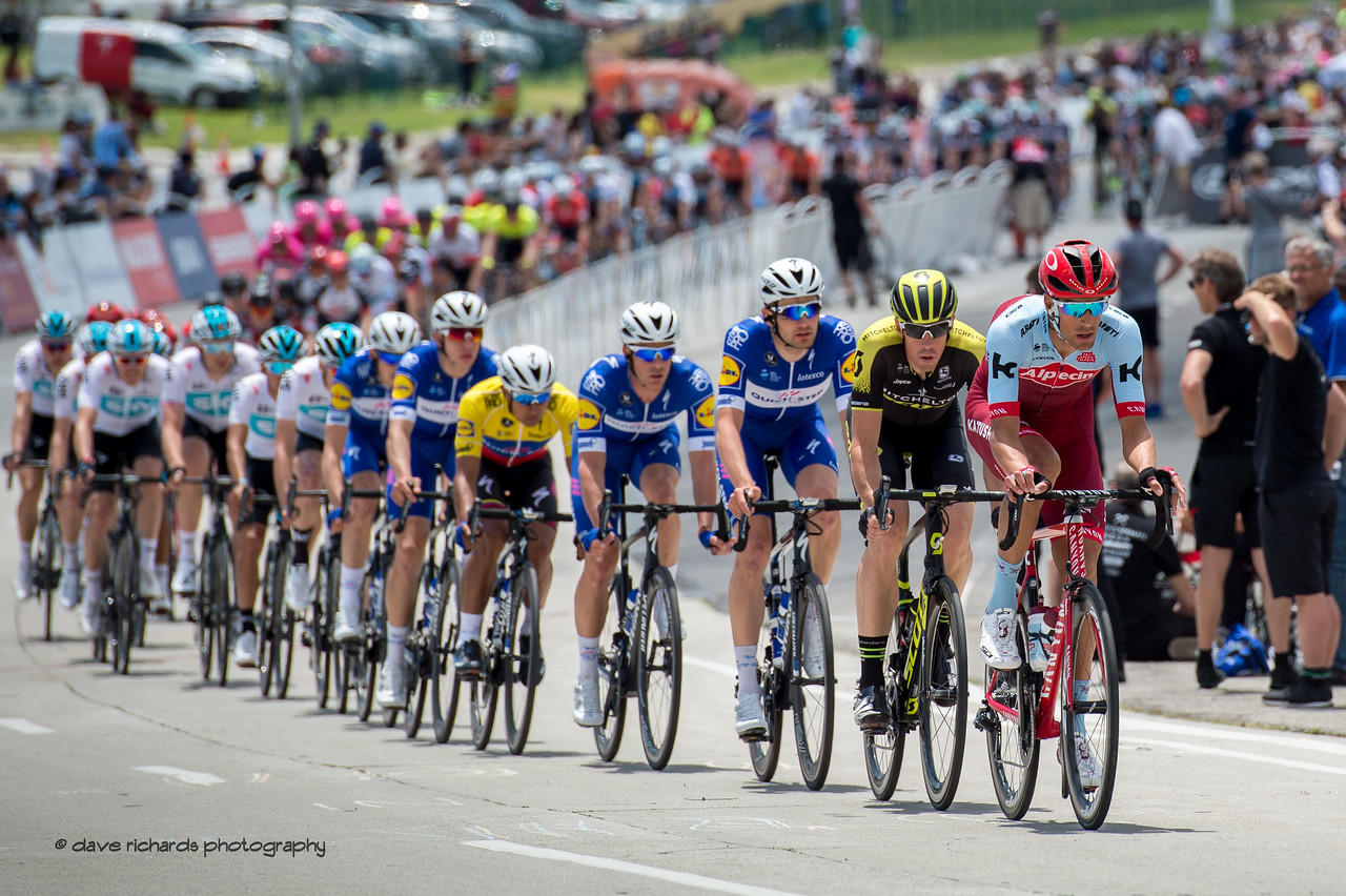 The peloton chases the breakaway during Men's Stage One in Long Beach, 2018 Amgen Tour of California cycling race (Photo by Dave Richards, daverphoto.com)