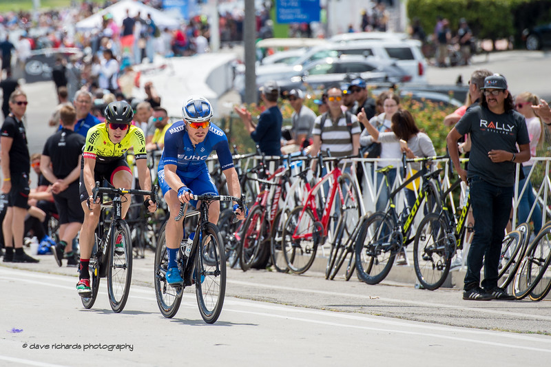 Tanner Putt (United Healthcare) and Andre Krasilnikau A(Holowesko) rode a fierce breakaway only to be caught on the final lap of Men's Stage One in Long Beach, 2018 Amgen Tour of California cycling race (Photo by Dave Richards, daverphoto.com)