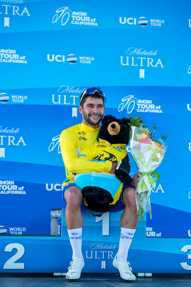 To the winner goes the spoils. Men's Stage One in Long Beach, 2018 Amgen Tour of California cycling race (Photo by Dave Richards, daverphoto.com)