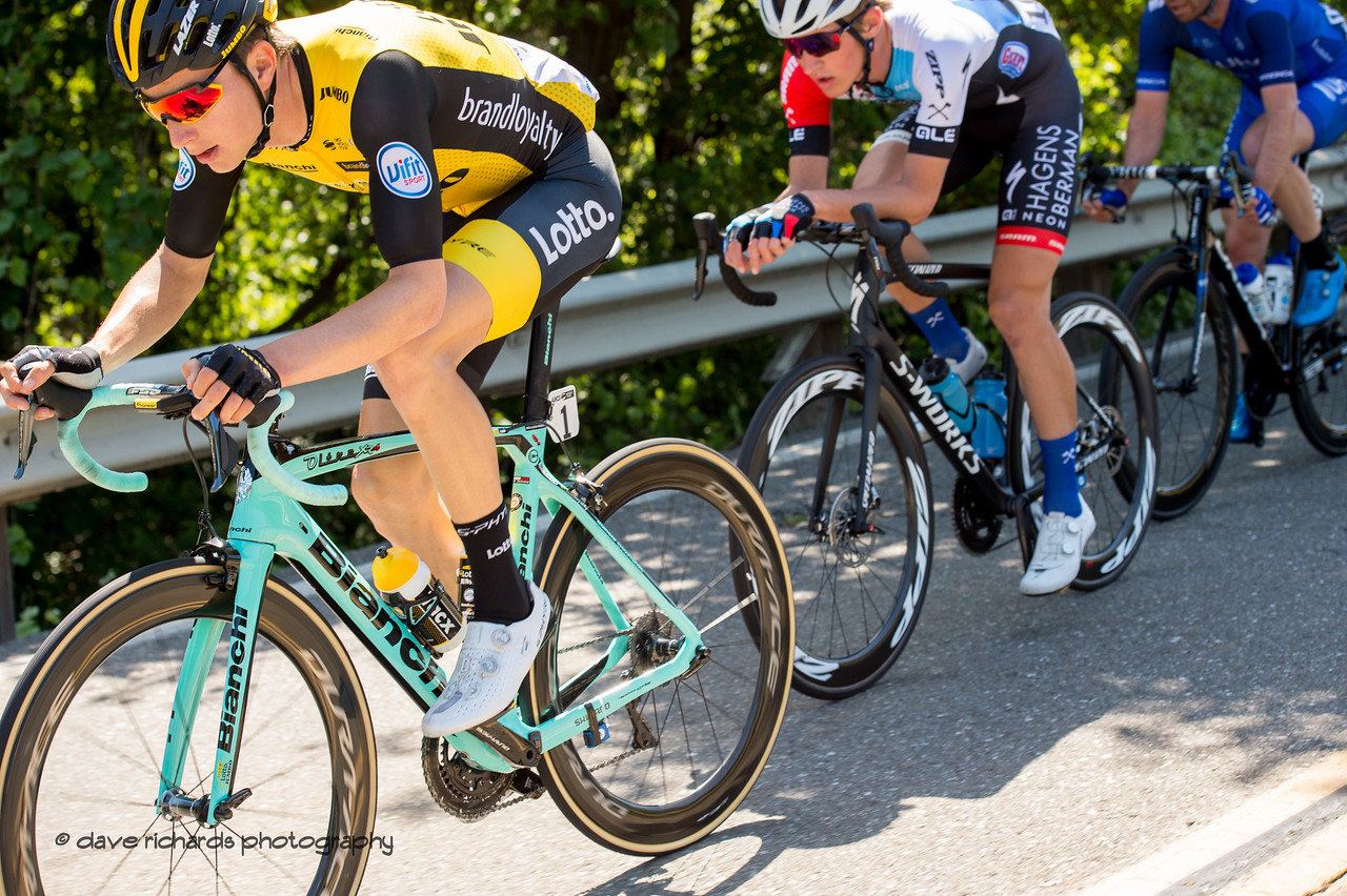 Breakaway close-up. Men's Stage Seven, Sacramento, 2018 Amgen Tour of California cycling race (Photo by Dave Richards, daverphoto.com)