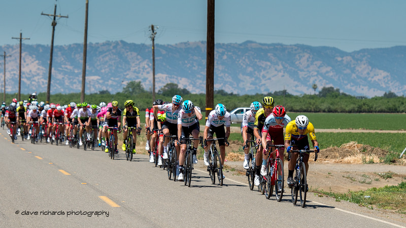 Power poles mark the divisions as the peloton rolls along the countryside west of Sacramento. Men's Stage Seven, Sacramento, 2018 Amgen Tour of California cycling race (Photo by Dave Richards, daverphoto.com)