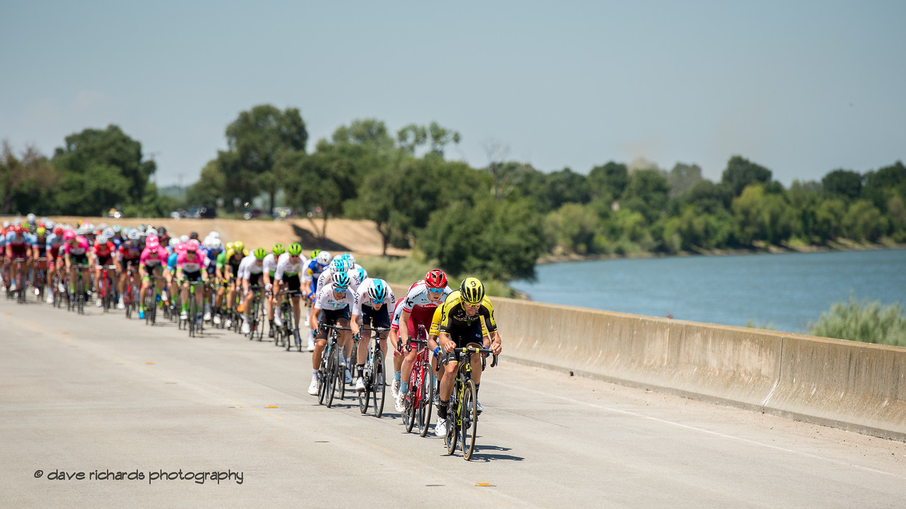 The pace quickens and the peloton stretches out in the final kilometers of Men's Stage Seven, Sacramento, 2018 Amgen Tour of California cycling race (Photo by Dave Richards, daverphoto.com)