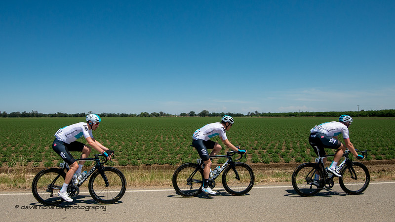 Team Sky riders lined out along the rich farmlands west of Sacramento. Men's Stage Seven, Sacramento, 2018 Amgen Tour of California cycling race (Photo by Dave Richards, daverphoto.com)