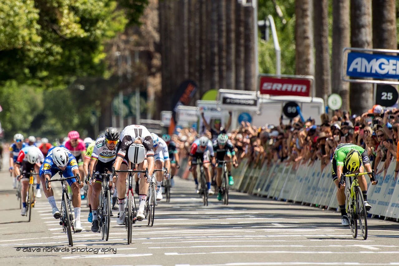 25 meters to go and the sprint is on! Men's Stage Seven, Sacramento, 2018 Amgen Tour of California cycling race (Photo by Dave Richards, daverphoto.com)