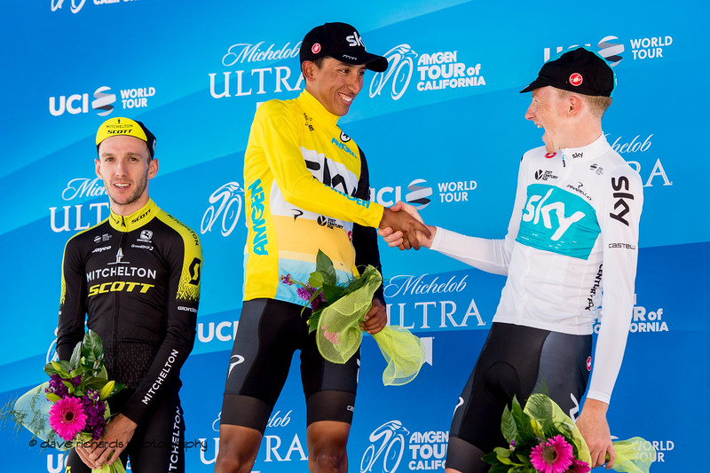 Egan Bernal (Team Sky)  shakes hands with teammate & 3rd place finisher Tao Geoghegan Hart who gave his all in assisting Bernal on the cilmb up to South Lake Tahoe. Men's Stage Six, Folsom to South Lake Tahoe, 2018 Amgen Tour of California cycling race (Photo by Dave Richards, daverphoto.com)