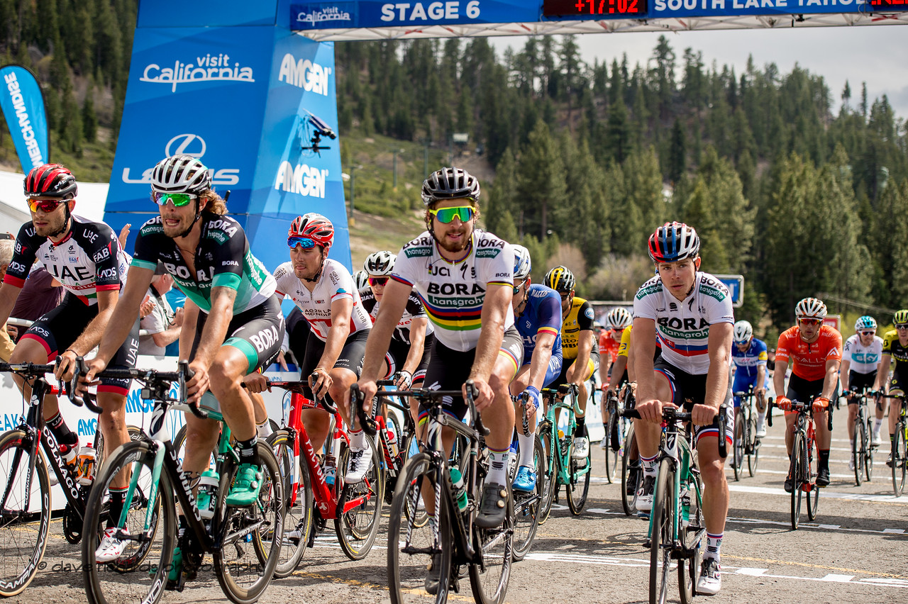 """Peter Sagan (Bora Hansgrohe) leads the """"laughing"""" group of late finishers on Men's Stage Six, Folsom to South Lake Tahoe, 2018 Amgen Tour of California cycling race (Photo by Dave Richards, daverphoto.com)"""