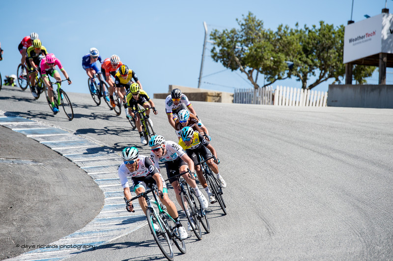 Team Sky in formation on the Corkscrew turn protecting their yellow jersey leader Egan Bernal. Men's Stage Three from King City to Laguna Seca Race Track, 2018 Amgen Tour of California cycling race (Photo by Dave Richards, daverphoto.com)