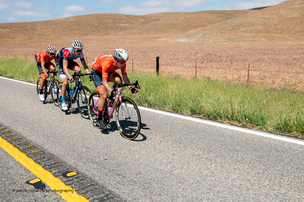 3 man breakaway. Men's Stage Three from King City to Laguna Seca Race Track, 2018 Amgen Tour of California cycling race (Photo by Dave Richards, daverphoto.com)