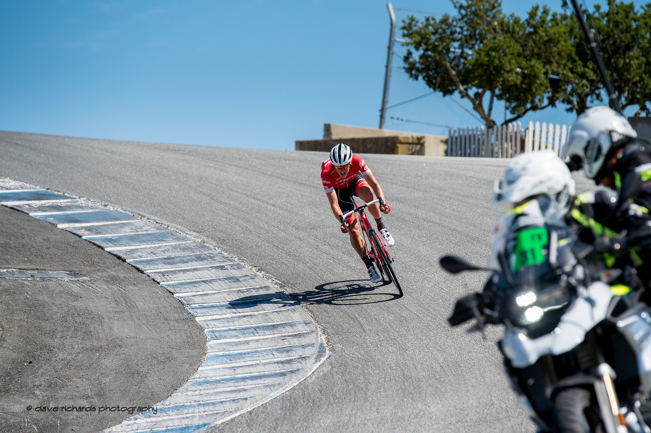 Toms Skujins (Trek Segafredo) drops down the famous Corkscrew turn on the Laguna Seca racetrack to take the win on Men's Stage Three from King City to Laguna Seca Race Track, 2018 Amgen Tour of California cycling race (Photo by Dave Richards, daverphoto.com)