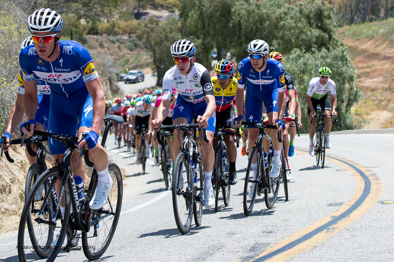 Riders struggle on the steep grade up Balcom Road. Men's Stage Two from Ventura to Gibraltar Road, 2018 Amgen Tour of California cycling race (Photo by Dave Richards, daverphoto.com)