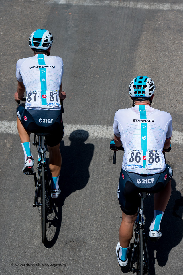 Team Sky riders with their names on their jerseys. Men's Stage Two from Ventura to Gibraltar Road, 2018 Amgen Tour of California cycling race (Photo by Dave Richards, daverphoto.com)