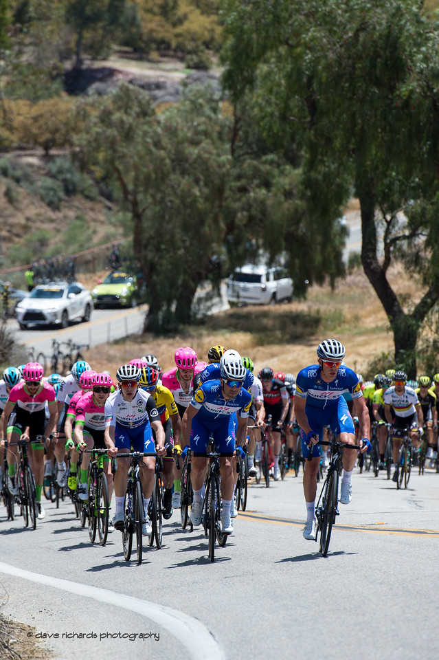 The peloton hits the lower slopes on the Balcom Road climb. Men's Stage Two from Ventura to Gibraltar Road, 2018 Amgen Tour of California cycling race (Photo by Dave Richards, daverphoto.com)