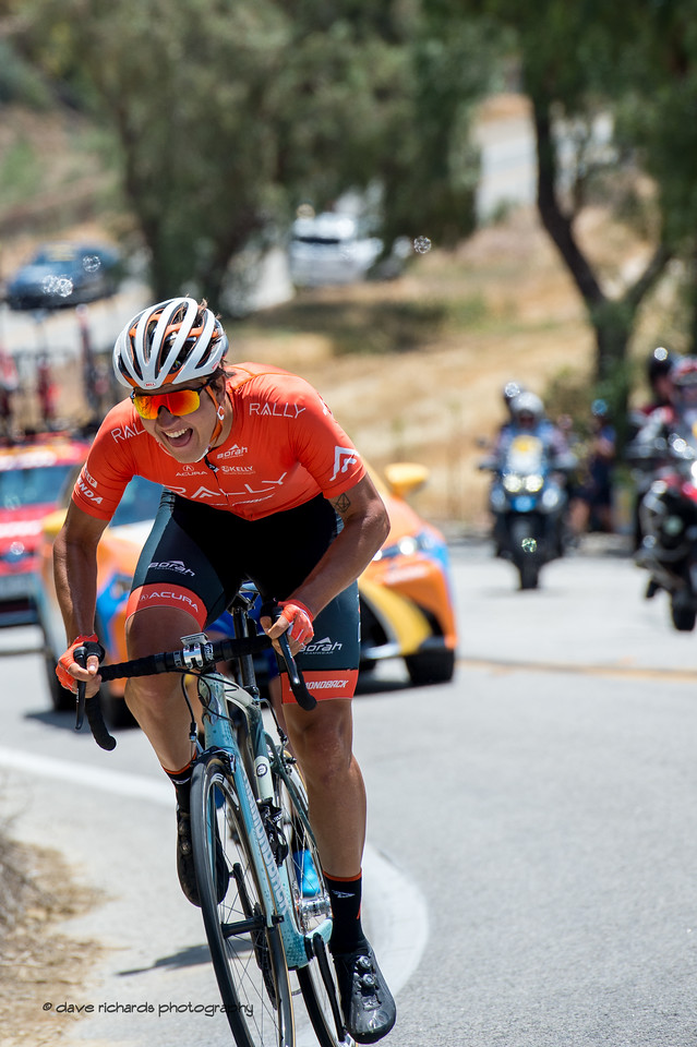 Out of the saddle, Adam De Vos (Rally) powers up Balcom Road. Men's Stage Two from Ventura to Gibraltar Road, 2018 Amgen Tour of California cycling race (Photo by Dave Richards, daverphoto.com)