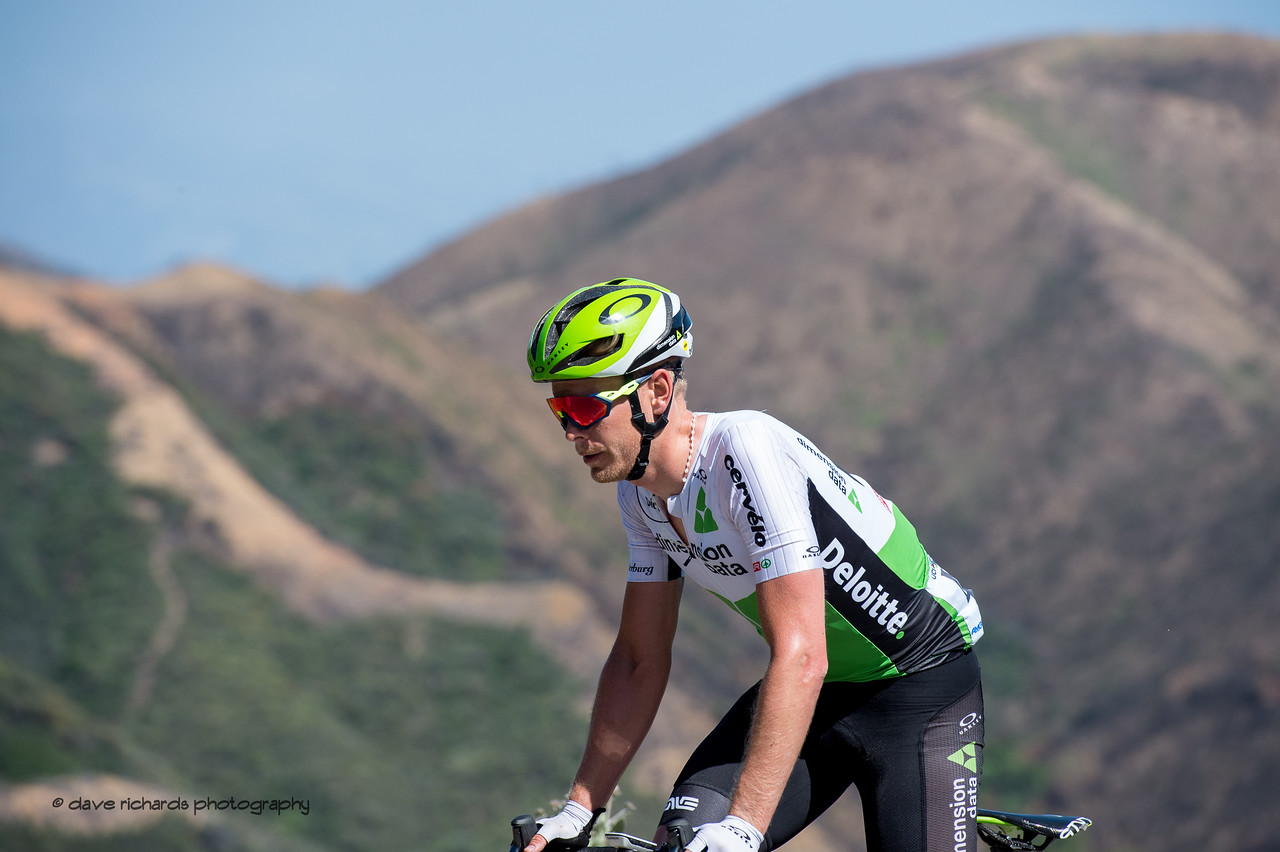 Solo struggle. Men's Stage Two from Ventura to Gibraltar Road, 2018 Amgen Tour of California cycling race (Photo by Dave Richards, daverphoto.com)