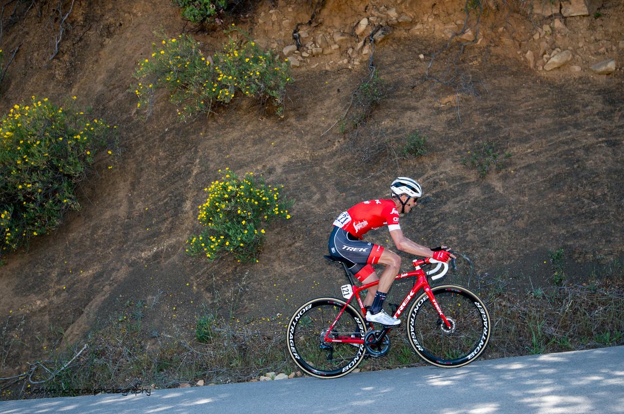 Frozen motion. Men's Stage Two from Ventura to Gibraltar Road, 2018 Amgen Tour of California cycling race (Photo by Dave Richards, daverphoto.com)