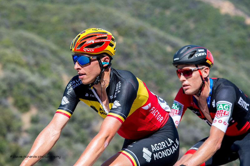 Pacing up the climb. Men's Stage Two from Ventura to Gibraltar Road, 2018 Amgen Tour of California cycling race (Photo by Dave Richards, daverphoto.com)