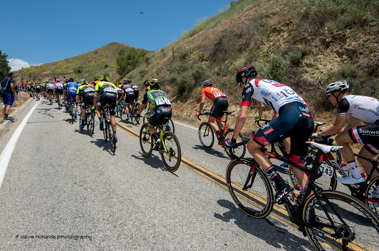 Riders strung out on the steep Balcom Road. Men's Stage Two from Ventura to Gibraltar Road, 2018 Amgen Tour of California cycling race (Photo by Dave Richards, daverphoto.com)