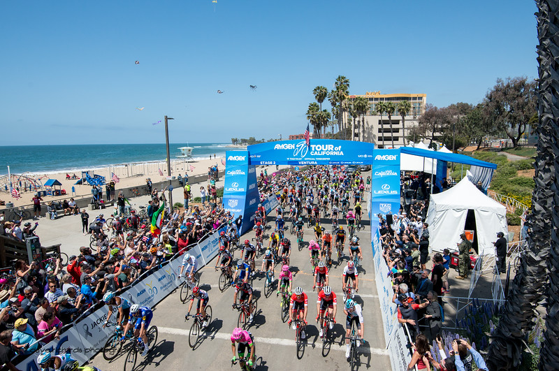 And they're off. Men's Stage Two from Ventura to Gibraltar Road, 2018 Amgen Tour of California cycling race (Photo by Dave Richards, daverphoto.com)