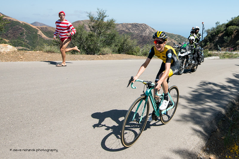 A crazy fan paces Antwan Tolhoek (LottoNL-Jumbo) up Gibralter Road. Men's Stage Two from Ventura to Gibraltar Road, 2018 Amgen Tour of California cycling race (Photo by Dave Richards, daverphoto.com)