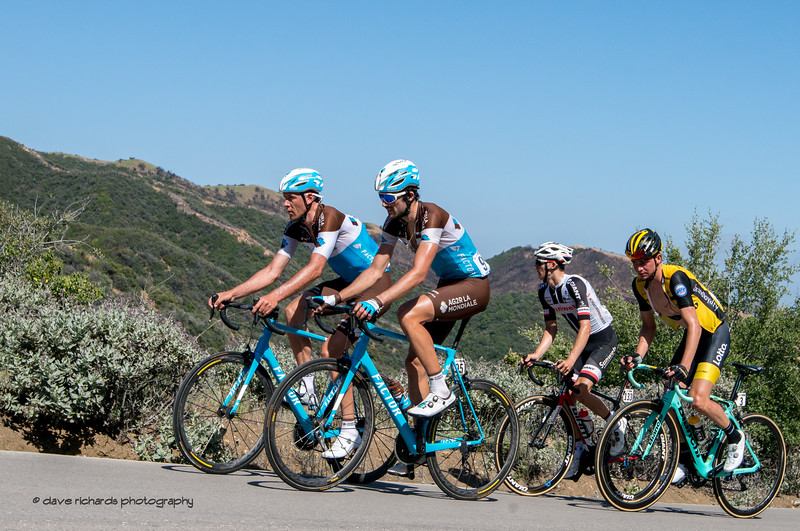 Teammates pace themselves up Gibralter Road. Men's Stage Two from Ventura to Gibraltar Road, 2018 Amgen Tour of California cycling race (Photo by Dave Richards, daverphoto.com)