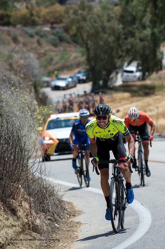 Breakaway on first climb of the day on Balcom Road. Men's Stage Two from Ventura to Gibraltar Road, 2018 Amgen Tour of California cycling race (Photo by Dave Richards, daverphoto.com)