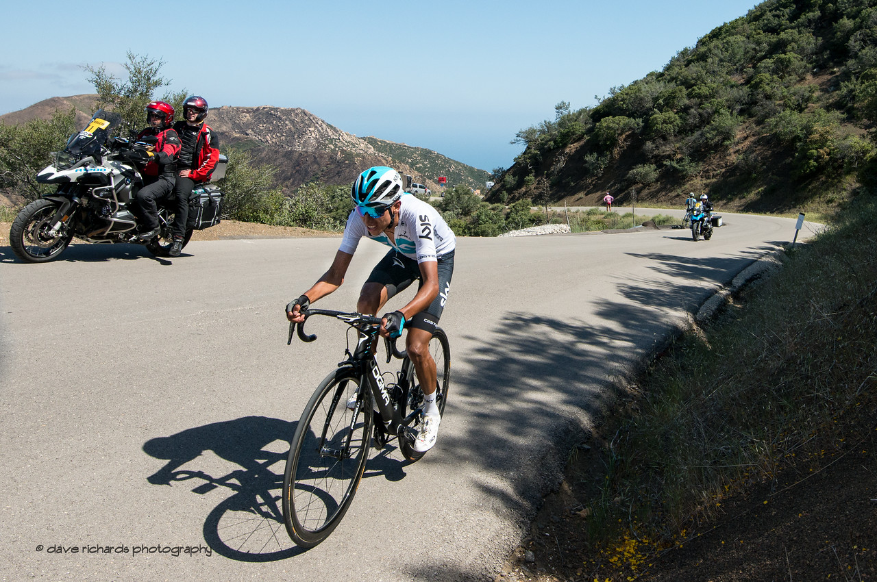 Egan Bernal (Team Sky) attacks on the final kilometer of the steep Gibralter Road climb to win Men's Stage Two from Ventura to Gibraltar Road, 2018 Amgen Tour of California cycling race (Photo by Dave Richards, daverphoto.com)