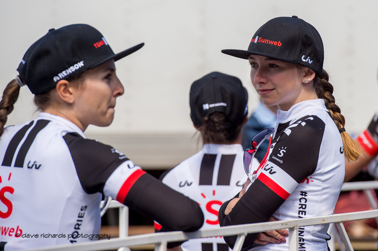 Team Sunweb riders await the start of Women's Stage Two, South Lake Tahoe, 2018 Amgen Tour of California cycling race (Photo by Dave Richards, daverphoto.com)