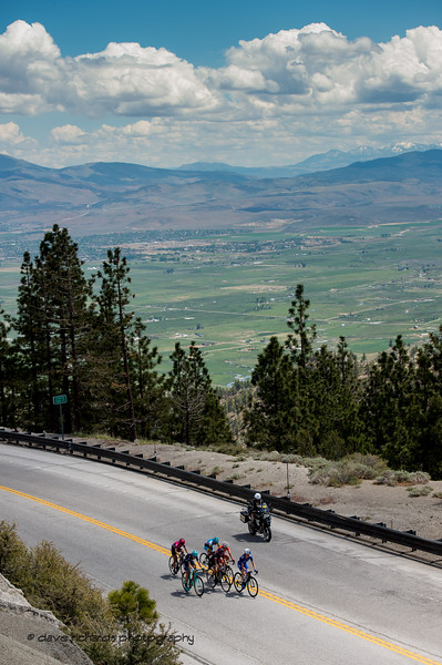 Breakaway group on the Daggett Summit climb overlooks green valleys below. Women's Stage Two, South Lake Tahoe, 2018 Amgen Tour of California cycling race (Photo by Dave Richards, daverphoto.com)