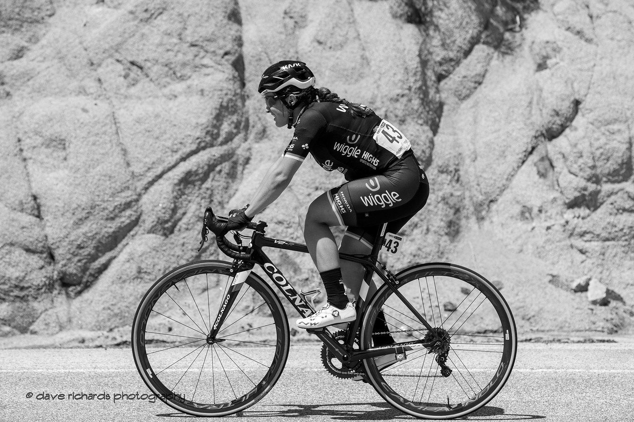 Rider against Rock - Black&White. Women's Stage Two, South Lake Tahoe, 2018 Amgen Tour of California cycling race (Photo by Dave Richards, daverphoto.com)