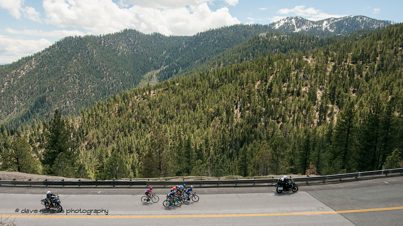 Snow remains at the top of Heavenly Valley Ski Resort high above the riders on the final climb  of Women's Stage Two, South Lake Tahoe, 2018 Amgen Tour of California cycling race (Photo by Dave Richards, daverphoto.com)
