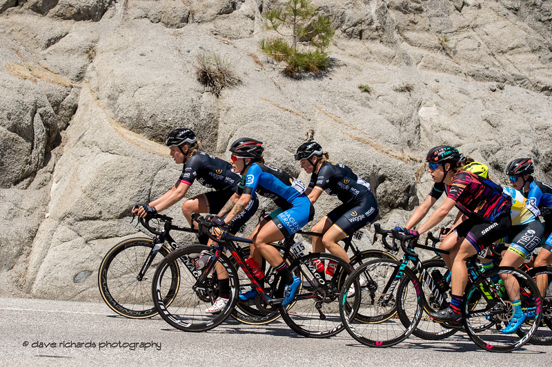 Safety in numbers. Women's Stage Two, South Lake Tahoe, 2018 Amgen Tour of California cycling race (Photo by Dave Richards, daverphoto.com)