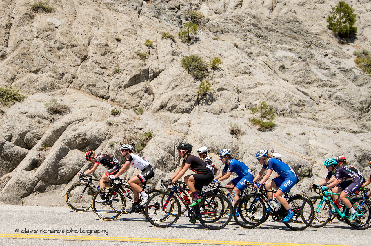 A gruppetto closes in on the Daggett Summitt KOM. Women's Stage Two, South Lake Tahoe, 2018 Amgen Tour of California cycling race (Photo by Dave Richards, daverphoto.com)