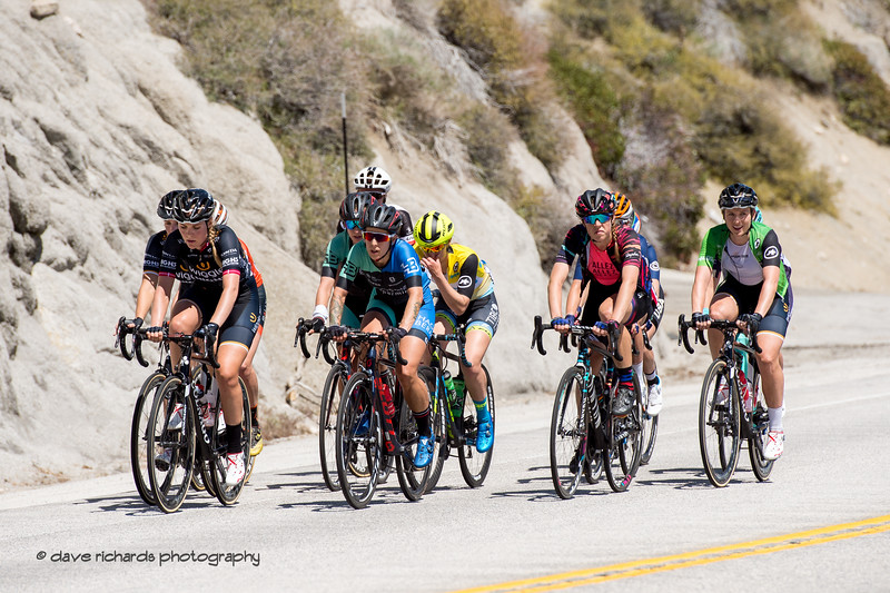 A group of riders is what's left of the peloton on the Daggett Summit climb. Women's Stage Two, South Lake Tahoe, 2018 Amgen Tour of California cycling race (Photo by Dave Richards, daverphoto.com)