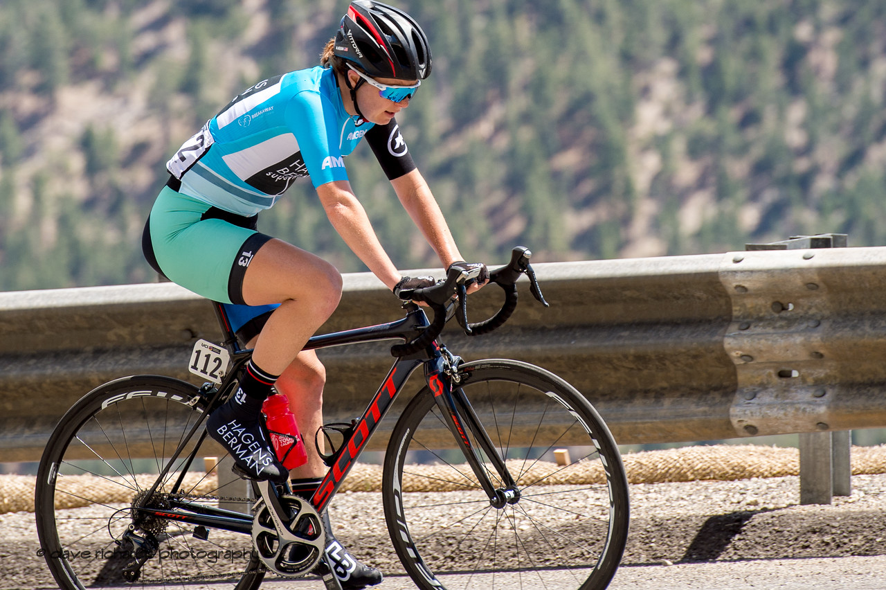 The guardrails must seem like a barrier to climbing the steep ramps up to Daggett Summit for Whitney Allison (Hagens Berman/Supermint). Women's Stage Two, South Lake Tahoe, 2018 Amgen Tour of California cycling race (Photo by Dave Richards, daverphoto.com)
