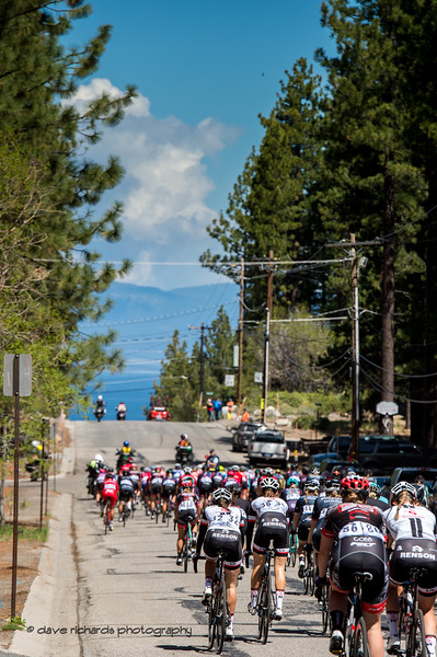 Lake Tahoe forms the backdrop as the riders begin Women's Stage Two, South Lake Tahoe, 2018 Amgen Tour of California cycling race (Photo by Dave Richards, daverphoto.com)