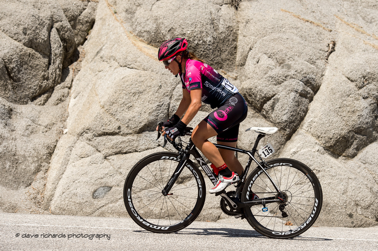 Silvia Valsecchi (Bepink) powers up out of the saddle to conquer the  steep Daggett Summit cimb. Women's Stage Two, South Lake Tahoe, 2018 Amgen Tour of California cycling race (Photo by Dave Richards, daverphoto.com)