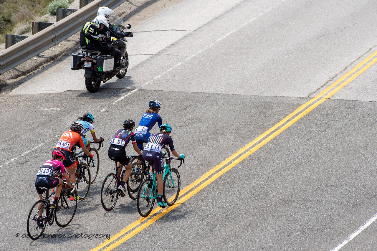 Five rider breakaway on the final climb of Women's Stage Two, South Lake Tahoe, 2018 Amgen Tour of California cycling race (Photo by Dave Richards, daverphoto.com)