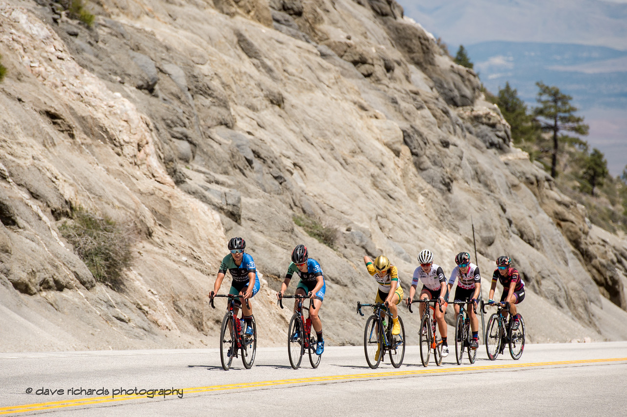 A small group of riders from the shattered peloton on the slopes of the Daggett Summit climb. Women's Stage Two, South Lake Tahoe, 2018 Amgen Tour of California cycling race (Photo by Dave Richards, daverphoto.com)