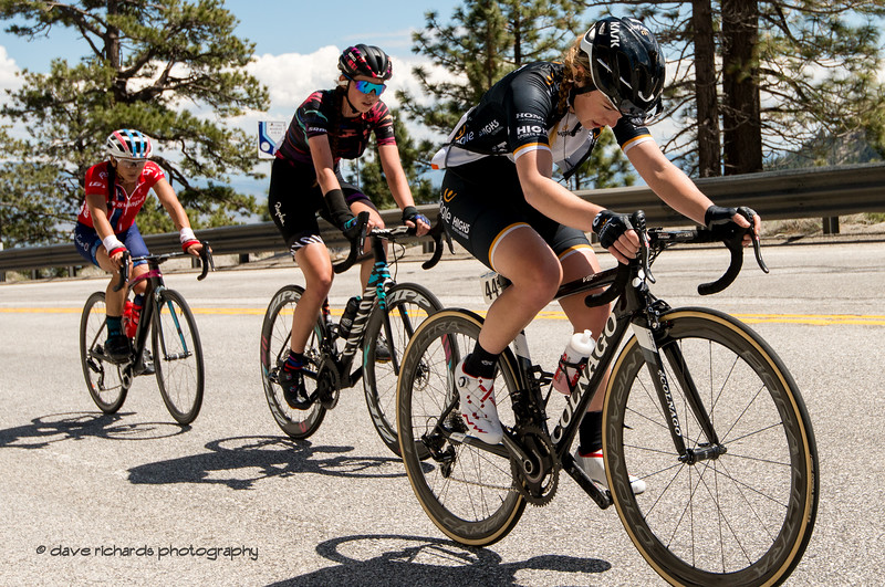 Heads down, deep in the pain cave on the steep ramps up Daggett Summit. Women's Stage Two, South Lake Tahoe, 2018 Amgen Tour of California cycling race (Photo by Dave Richards, daverphoto.com)