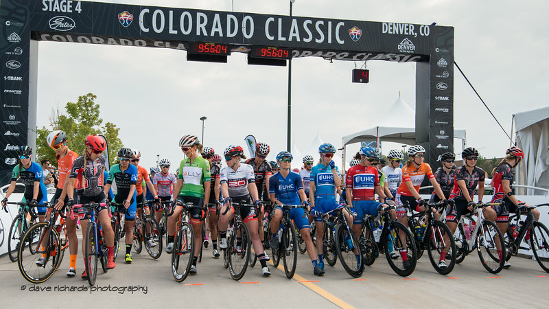 The riders line up at the start of Women's Stage Four which consists of a 4 lap circuit race around downtown Denver. 2018 Colorado Classic cycling race (Photo by Dave Richards, daverphoto.com)